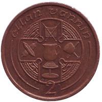 Кельтский крест. Монета 2 пенса. 1988 год, Остров Мэн. (AС)