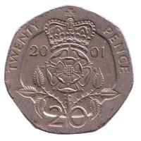 Монета 20 пенсов. 2001 год, Великобритания.