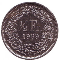 Монета 1/2 франка. 1989 год, Швейцария.