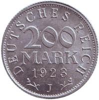 Монета 200 марок. 1923 год (J), Веймарская Республика.