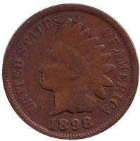 Индеец. Монета 1 цент. 1898 год, США.