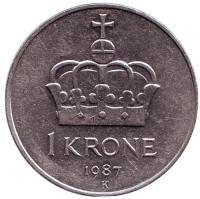 Корона. Монета 1 крона. 1987 год, Норвегия.