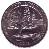 Национальный парк Вояджерс. Монета 25 центов (P). 2018 год, США.