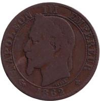 Наполеон III. Монета 5 сантимов. 1862 год (BB), Франция.