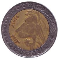 Лев. Монета 20 динаров. 2004 год, Алжир.