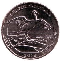 Национальное побережье острова Кумберленд. Монета 25 центов (D). 2018 год, США.