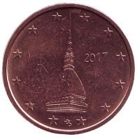 Монета 2 цента. 2017 год, Италия.