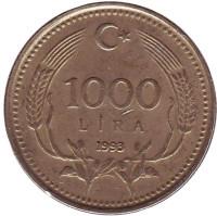 Монета 1000 лир. 1993 год, Турция.