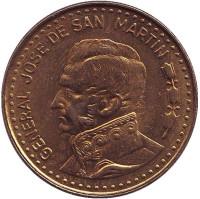 Генерал Хосе де Сан-Мартин. Монета 100 песо, 1981 год, Аргентина. aUNC.