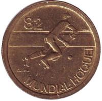 Чемпионат мира по хоккею на роликах. Монета 1 эскудо. 1982 год, Португалия.