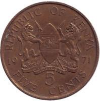 Монета 5 центов. 1971 год, Кения.