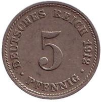 Монета 5 пфеннигов. 1912 год (D), Германская империя.