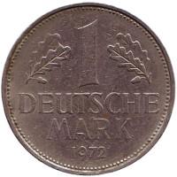 Монета 1 марка. 1972 год (F), ФРГ.