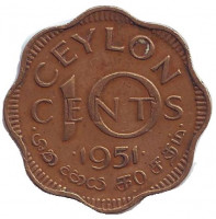 Монета 10 центов. 1951 год, Цейлон.