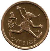 Астрид Линдгрен. Монета 50 крон. 2002 год, Швеция.