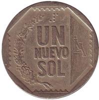 Монета 1 новый соль. 2000 год, Перу.
