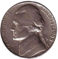 Джефферсон. Монтичелло. Монета 5 центов. 1968 год (S), США.