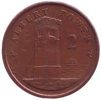Башня Альберта. Монета 2 пенса. 2008 год, Остров Мэн. Из обращения.