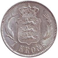 Монета 1 крона. 1916 год, Дания. Король Кристиан X.