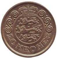 Монета 20 крон. 1998 год, Дания.