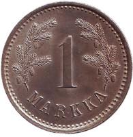Монета 1 марка. 1921 год, Финляндия. XF-aUNC.