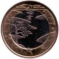 Северная природа. Лето. Монета 5 евро, 2013 год, Финляндия.