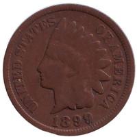 Индеец. Монета 1 цент. 1899 год, США.