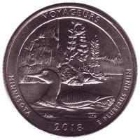 Национальный парк Вояджерс. Монета 25 центов (D). 2018 год, США.