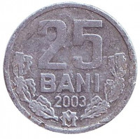 Монета 25 бани. 2003 год, Молдавия.