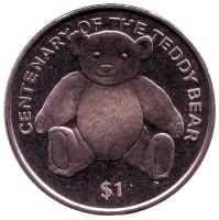 100 лет плюшевому мишке. Монета 1 доллар. 2002 год, Британские Виргинские острова.