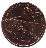 "100 лет со дня рождения Чарльза Кингсфорда Смита. Карта. Монета 1 доллар. 1997 год, Австралия. Отметка: ""С"""