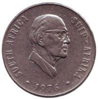 Окончание президентства Якобуса Йоханнеса Фуше. Монета 50 центов. 1976 год, ЮАР.