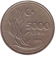 Монета 5000 лир. 1994 год, Турция.