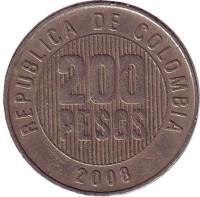 Монета 200 песо. 2008 год, Колумбия.