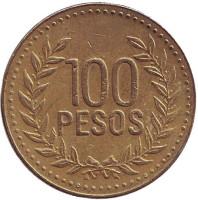 Монета 100 песо. 2007 год, Колумбия.