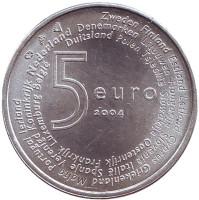 Члены Евросоюза. Расширение ЕС. Монета 5 евро. 2004 год, Нидерланды.