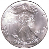 Шагающая свобода. Монета 1 доллар, 1994 год, США.