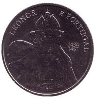 Королева Элеонора. Монета 5 евро. 2014 год, Португалия.