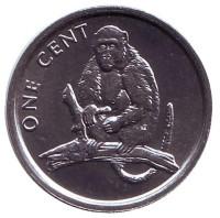 Обезьяна. Монета 1 цент. 2003 год, Острова Кука.