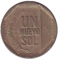 Монета 1 новый соль. 2006 год, Перу.
