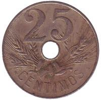 Монета 25 сантимов, 1927 год, Испания.