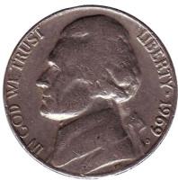 Джефферсон. Монтичелло. Монета 5 центов. 1969 год (D), США.