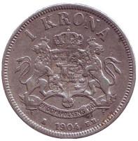Король Оскар II. Монета 1 крона. 1904 год, Швеция.