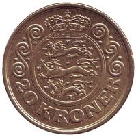 Монета 20 крон. 2001 год, Дания.