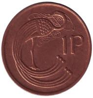 Птица. Ирландская арфа. Монета 1 пенни. 1995 год, Ирландия.
