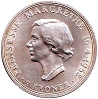 18 лет принцессе Маргрете. Монета 2 кроны. 1958 год, Дания.
