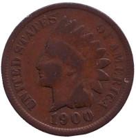 Индеец. Монета 1 цент. 1900 год, США.