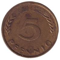 Дубовые листья. Монета 5 пфеннигов. 1949 год (J), ФРГ.