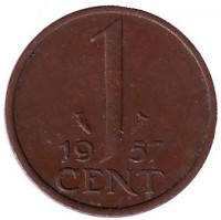 1 цент. 1957 год, Нидерланды.
