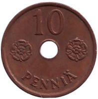 Монета 10 пенни. 1943 год, Финляндия. (медь)